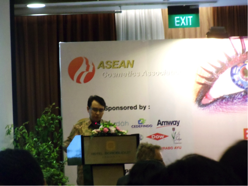 """Mr. Roy A. Sparringa, Head of Badan POM (The National Agency for Drug and Food Control, the Republic of Indonesia) delivering a presentation on the """"Overview on Cosmetic Regulatory Framework and Development of SME's Potential"""""""