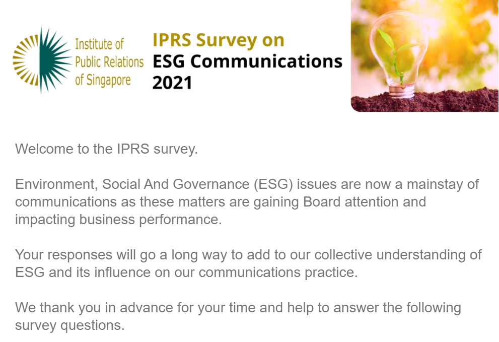 Institute of Public Relations of Singapore Launches Survey on ESG Communications 2021